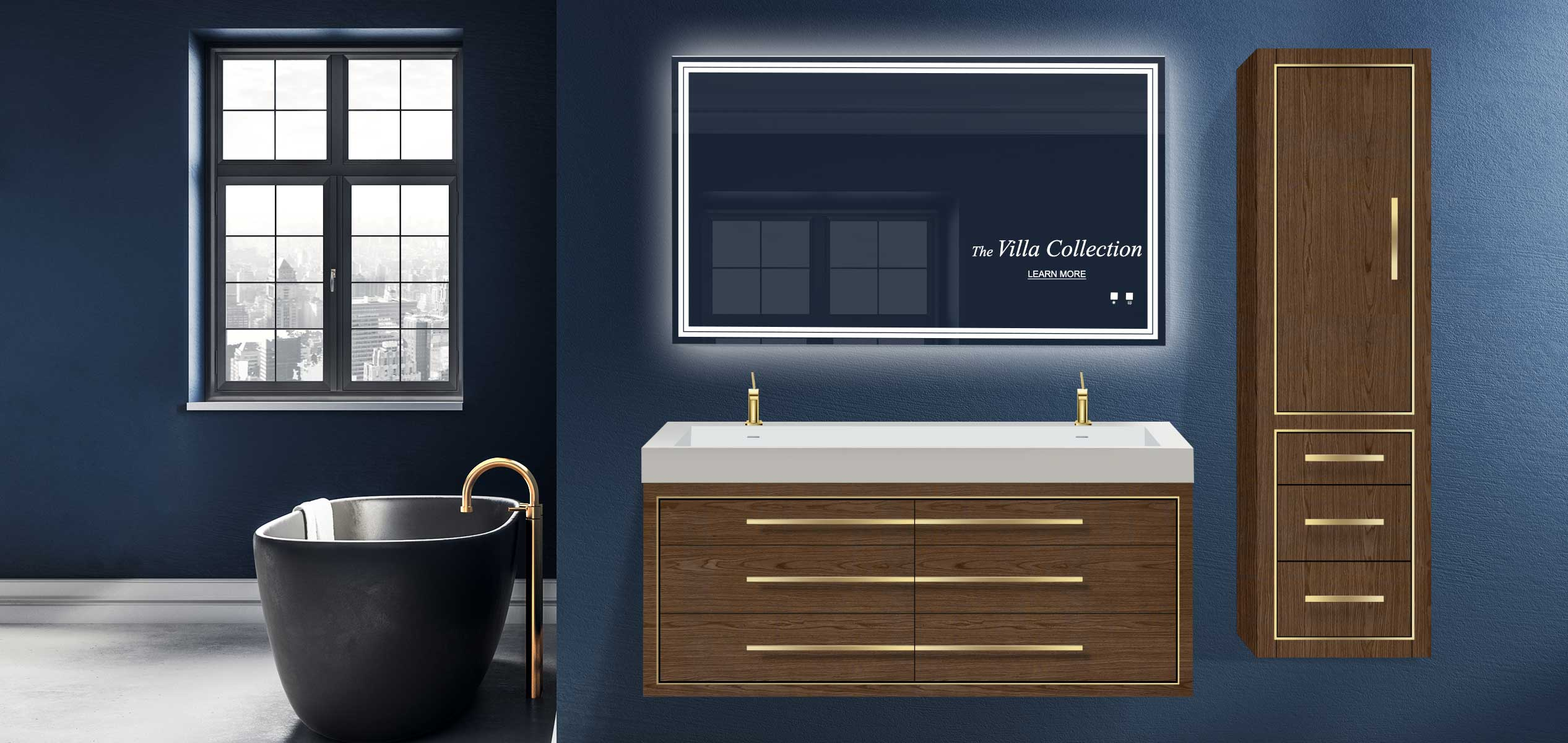 Villa 60 inch double bowl vanity and linen cabinet in walnut finish and slique lighted mirror