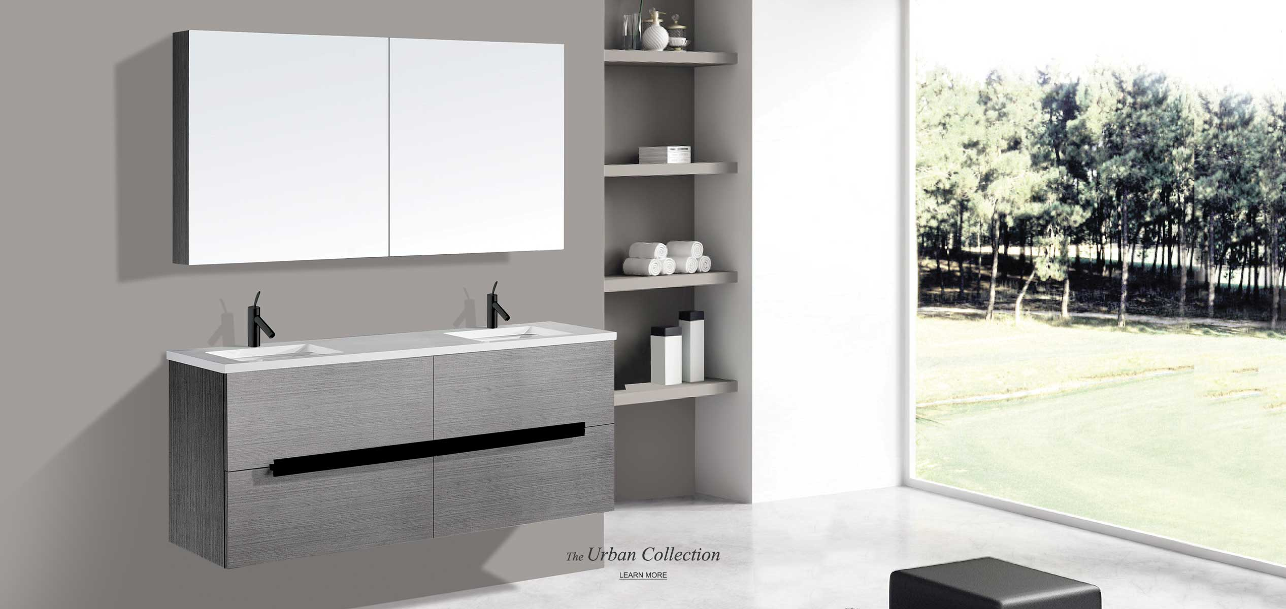 Urban 60 inch double bowl vanity in ash grey finish with medicine cabinet